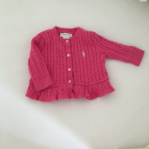 67eb13024 Pink Cable knit Ralph Lauren baby girl cardigan. Gorgeous! - Depop