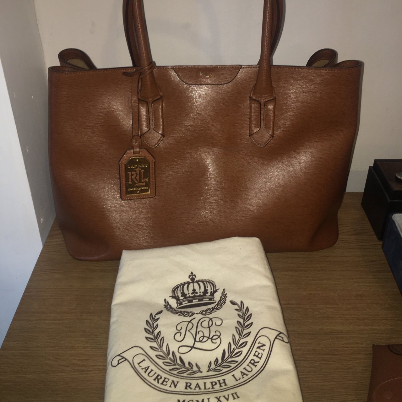 034a128274 Genuine Ralph Lauren Tan Leather Tate City Tote. Used but in - Depop
