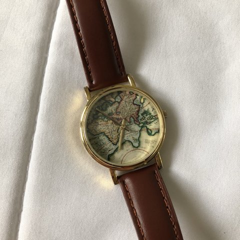 Urban Outfitters World Map Watch.Unisex Urban Outfitters World Map Face Watch Barely Worn Depop