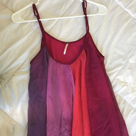 Free People Flowy Cute Red And Purple Striped Dress Never Depop
