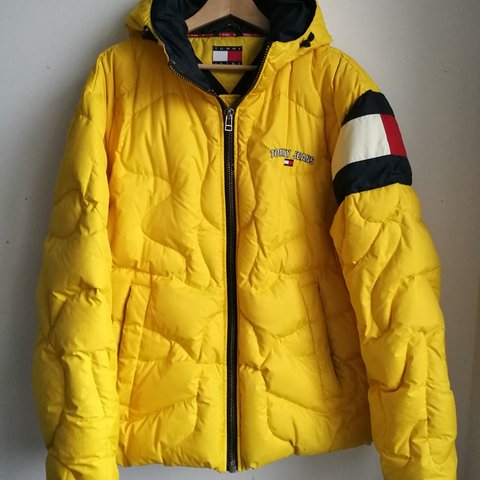 382b756d @nagybeni. 23 days ago. London, GB. Tommy Hilfiger Tommy Jeans puffer down  jacket with hood. Yellow Size Large ...