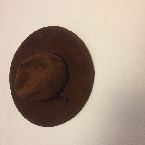 brown faux leather cowboy hat Never worn Only flaw in third - Depop d53af7b6d1c3