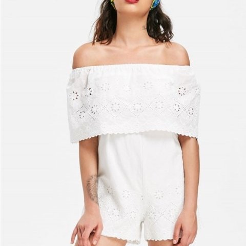 529cbfe2c0 Selling this white off the shoulder playsuit romper from for - Depop