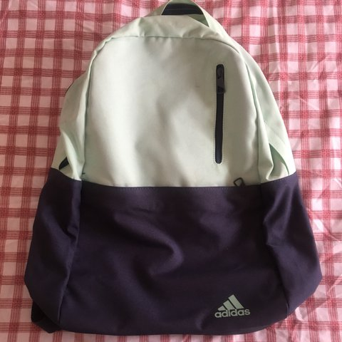 5d6799dce01 Reduced item! Cute Adidas pale green and navy blue backpack - Depop