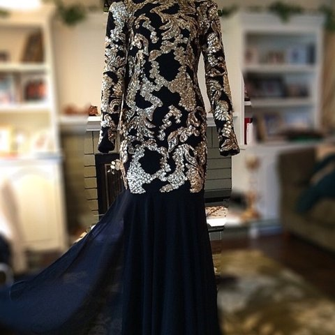 062d2234b4db @f___m. 3 years ago. California, USA. Black and Gold sequin gorgeous Mermaid  Gown ...