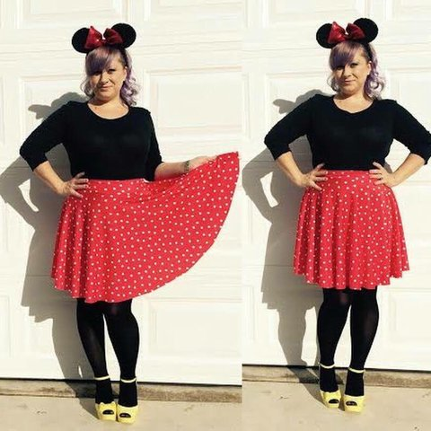 f4194a0fd @staysilee. 3 months ago. Las Vegas, NV, USA. Minnie Mouse inspired Red and  white polka dot circle skirt.