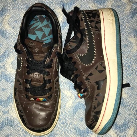 220bcd009016 Rare vintage Nike Air Force 1 brown Aztec triangle pattern • - Depop
