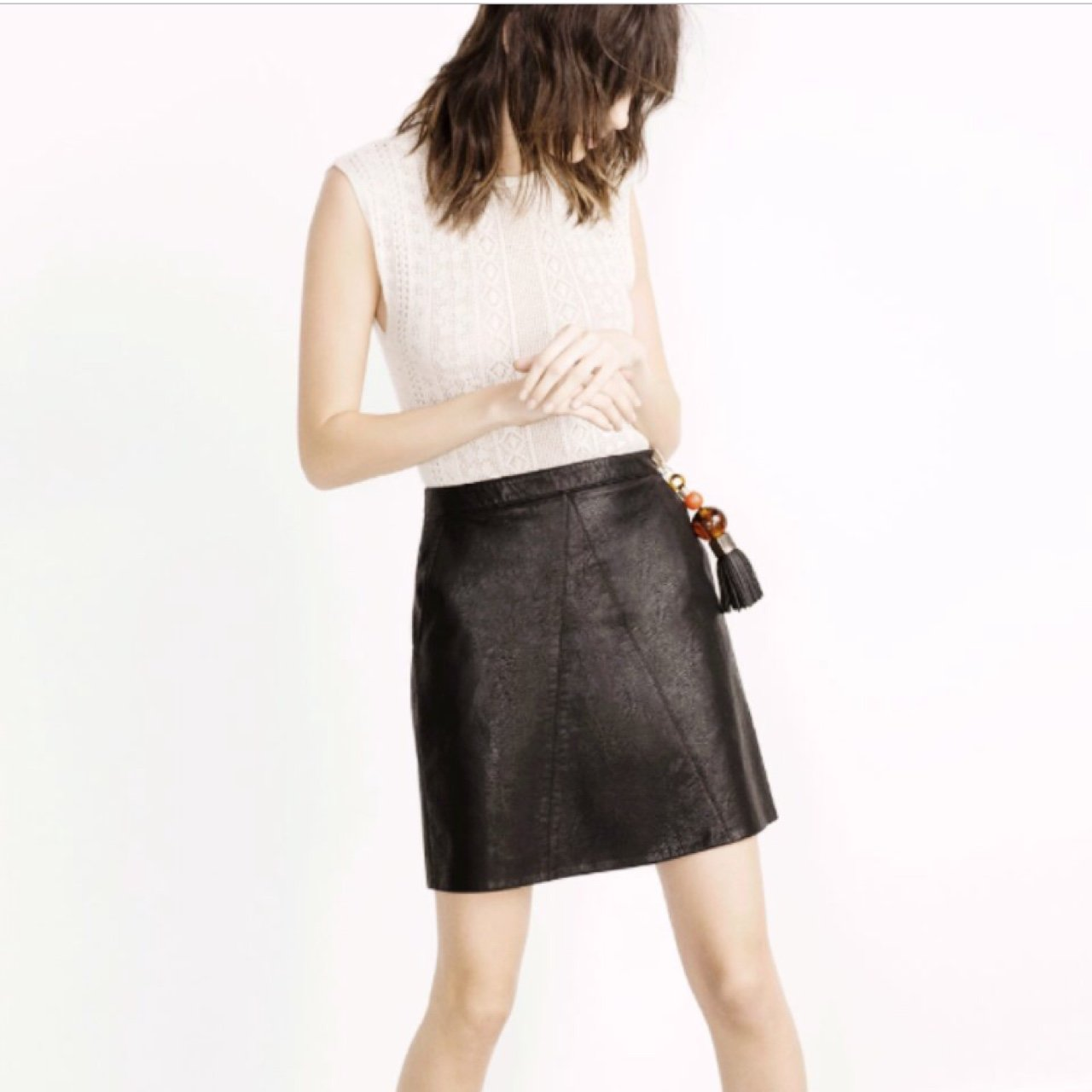 38fb945fe2 Zara Faux Leather A Line Skirt