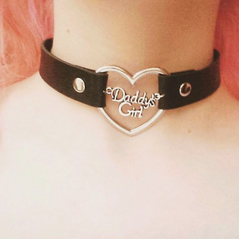 Daddys Girl Heart Leather Choker Available In Black And Depop