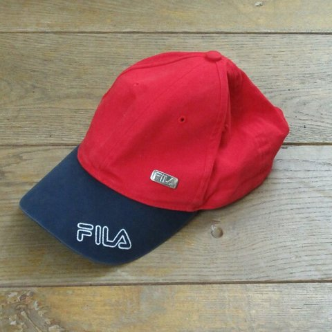 04a8d4ce4e9 Vtg Fila cap. Red with navy peak. Good overall condition. on - Depop