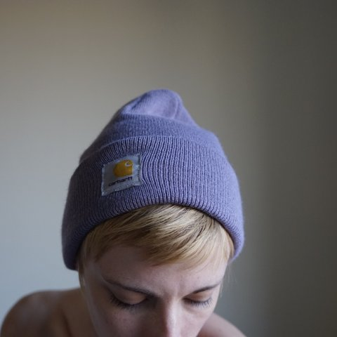 87cf2192462 Lavender purple Carhartt beanie in great used condition! and - Depop