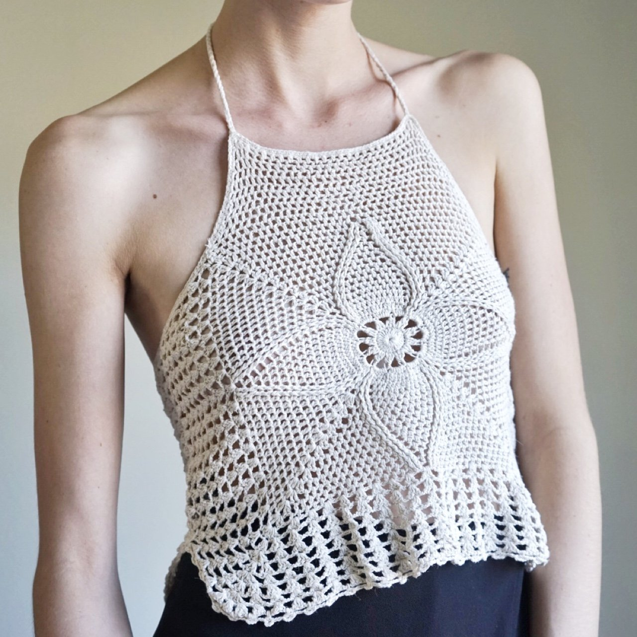 33f510d2e8 Off white   cream crocheted halter top. Vintage from the is - Depop