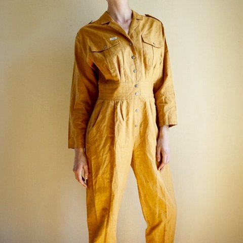 cab6dfeed4 Amazing vintage 80s jumpsuit in a mustard yellow (somewhere - Depop