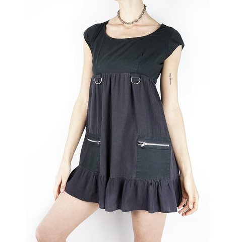 c28cc8cd297 Vintage 90s grunge babydoll dress. Faded black cotton with - Depop