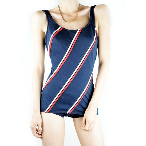 5ad569c2ba9 @mayasommer. 19 days ago. Glendale, Los Angeles County, United States.  Vintage 1960s bathing suit. Navy, red and white one piece ...