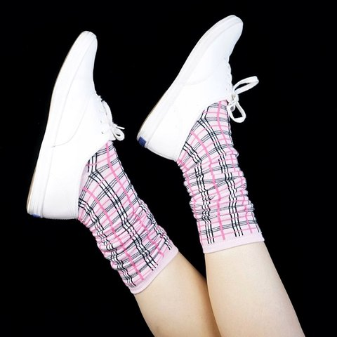 0b24b66a074 Adorable deadstock baby pink plaid socks! Hot pink