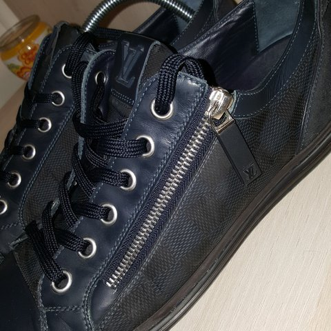 2b6d2dba09ad Louis Vuitton Navy Damier Sneakers Size 8 UK. Will fit upto - Depop