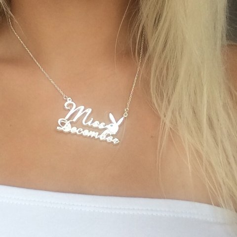 Silver miss december playboy bunny necklace comes with logo depop aloadofball Image collections