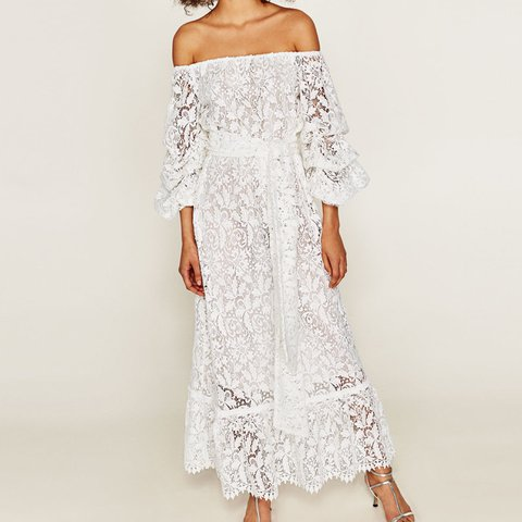 cb2b8db9c30 @elenimarkou90. 2 years ago. New Ollerton, United Kingdom. ZARA EXCLUSIVE White  Lace Off-The-Shoulder Maxi Dress ...