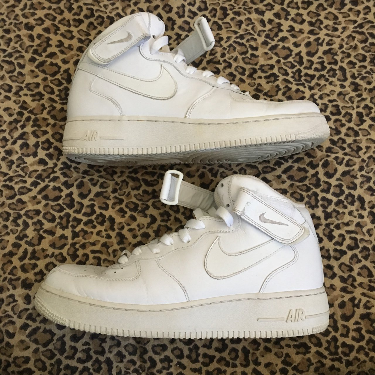 👣 Nike White Air Force 1 High-tops in Size Women s 10 or 9 - Depop a6275e2e9e