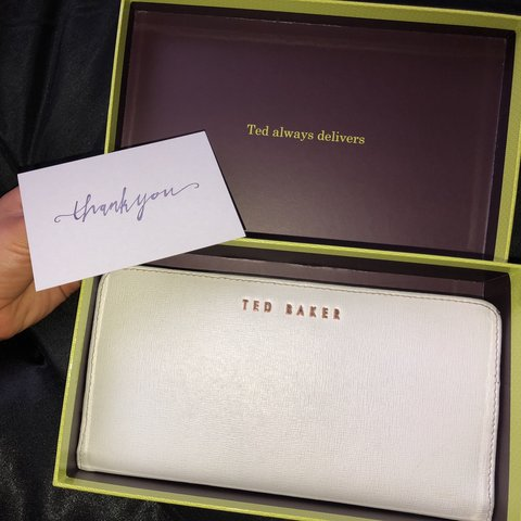 """7796c61cd TED BAKER white purse Inside it says """"See a penny"""