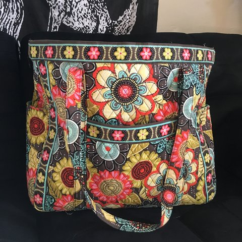 "b0a7b5380 @babzbunny. 2 months ago. South Orange, United States. Extra large Vera  Bradley ""Get Carries Away"" overnight tote bag. Retired Flower Shower pattern  ..."
