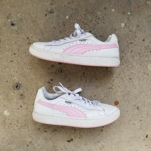 Pink   white Puma sneakers. Size 5.5UK. Marked 8US women s a - Depop 6fa543816