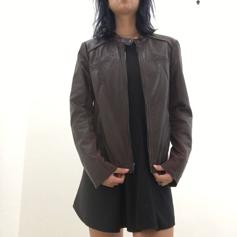 Mahogany Brown Express Faux Leather Jacket Fits Snug Depop