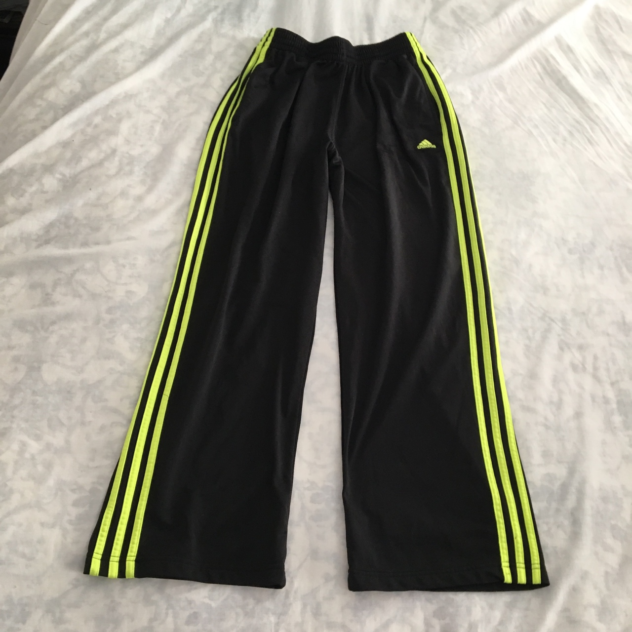 auténtica venta caliente aliexpress ahorre hasta 80% Adidas track pants in black with neon lime green... - Depop