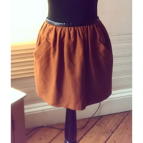 741c1d53f79 Topshop wool skater skirt with front pockets and leather a - Depop