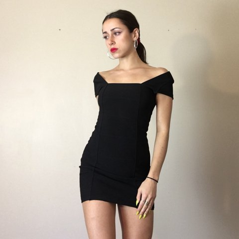 Little Black Bodycon Dress Super Stretchy Thick Material Depop