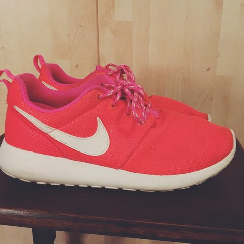 5b0252181d1c ... czech size 4 coral pink nike roshe trainers worn but in great depop  2a89f e3074