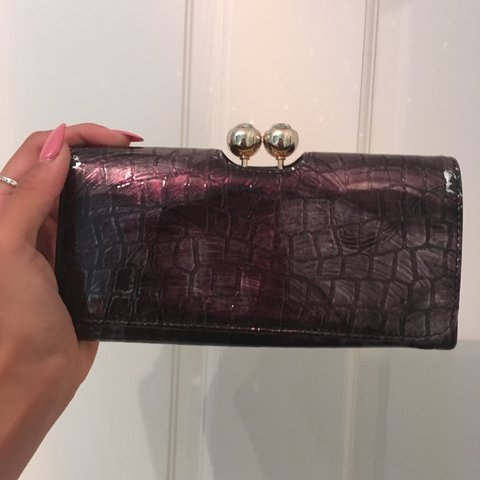 9d823b183f5 Genuine beautiful Ted Baker purse. Patent Croc leather in in - Depop