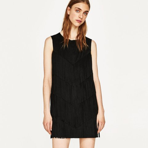 ff65d7d8bdc Black suede fringed dress from Zara. Size medium. Like brand - Depop
