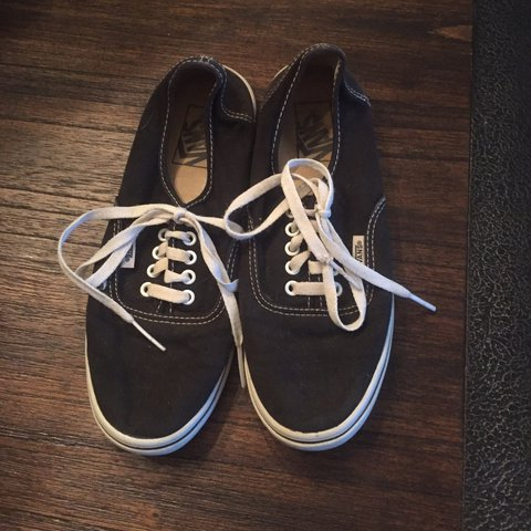 10c4288aaaa black and white classic vans. have a lot of life left in but - Depop