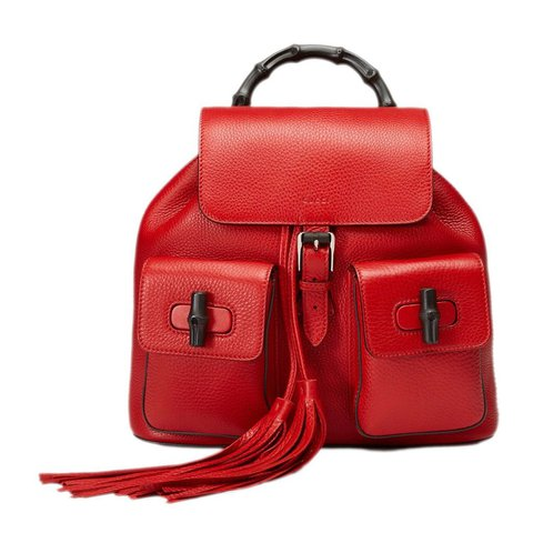 32f546304c5 Gucci bamboo red leather backpack Like new condition Bought - Depop