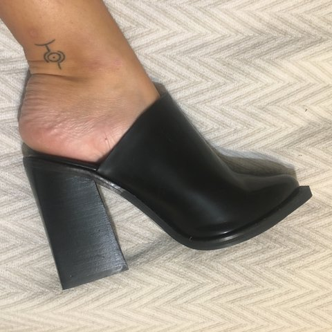 a929dd9c683b ZARA Black mules with flared chunky block heel   square toe. - Depop
