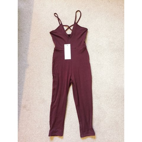 e14f230a50d Oh Polly ohpolly double layer burgundy cropped jumpsuit size - Depop