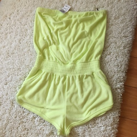 e7fda4b1474f8 New with tags forever 21 lime green/yellow romper Perfect / - Depop