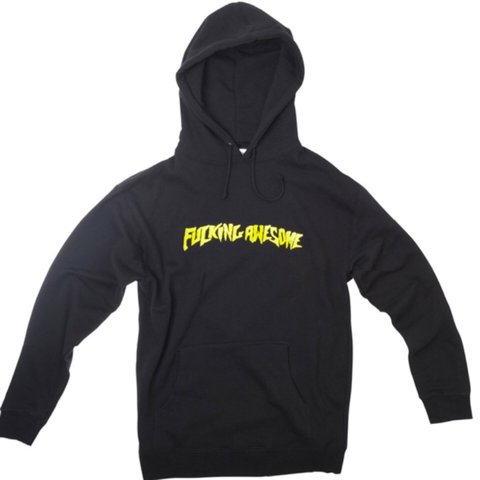 b842c4b5 @shiteverywhere. 2 years ago. Moore, United States. Fucking Awesome gold  embroidered logo hoodie in size medium.