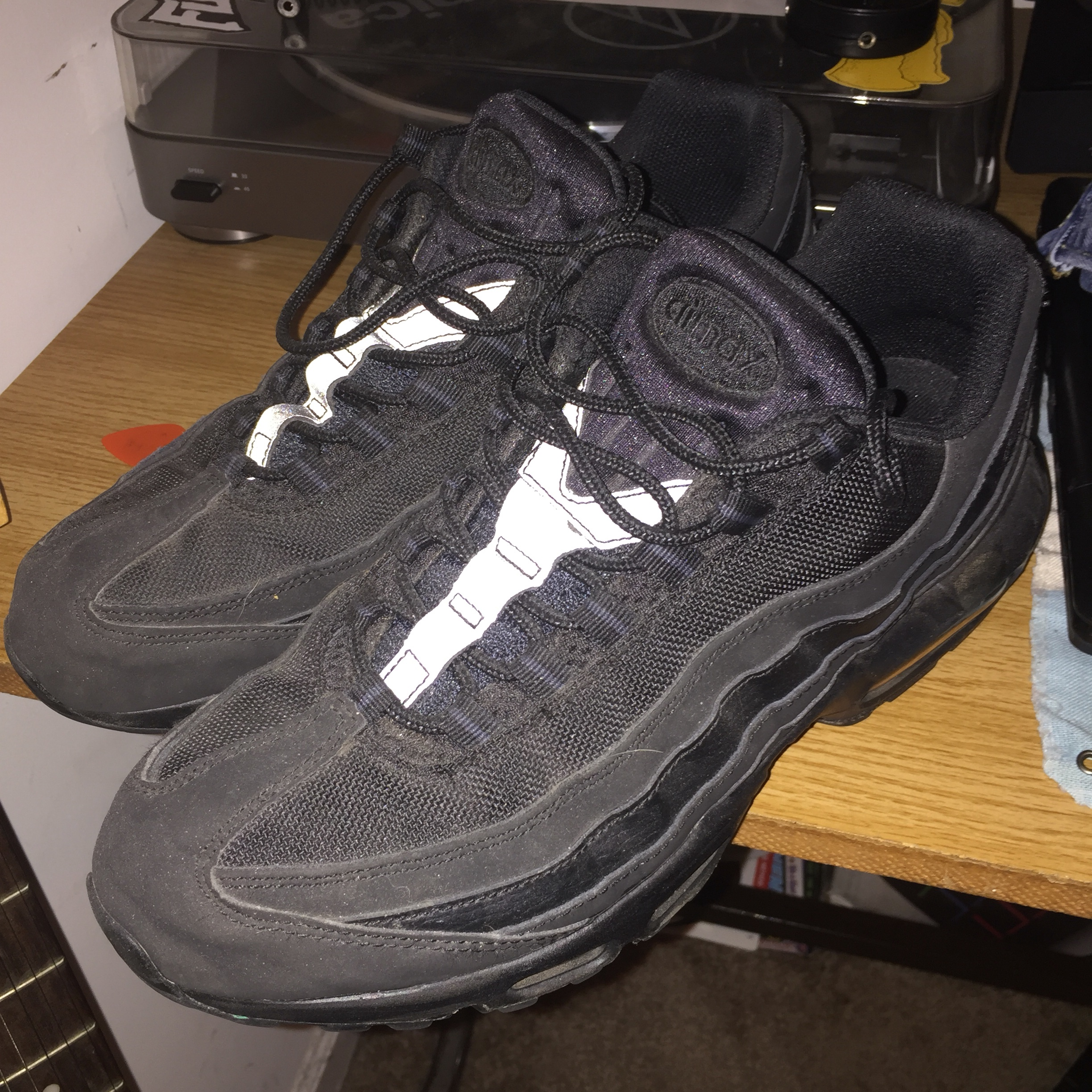 reputable site ebdd2 0120c Nike Air Max 95 triple black with 3M accents, size... - Depop