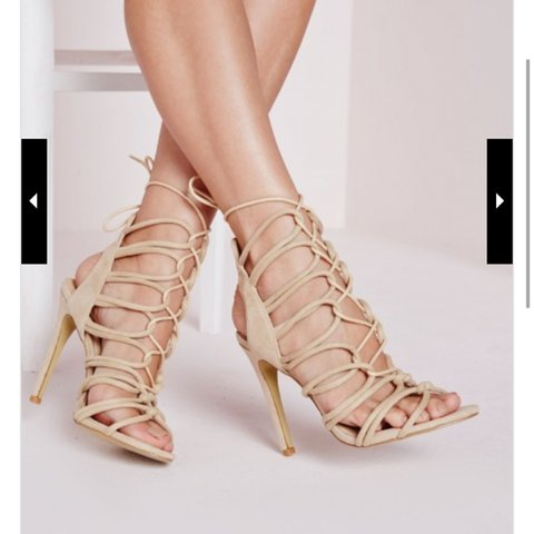 47c28f6b7f02 Missguided Rope lace up heels   heeled sandals in nude. Size - Depop