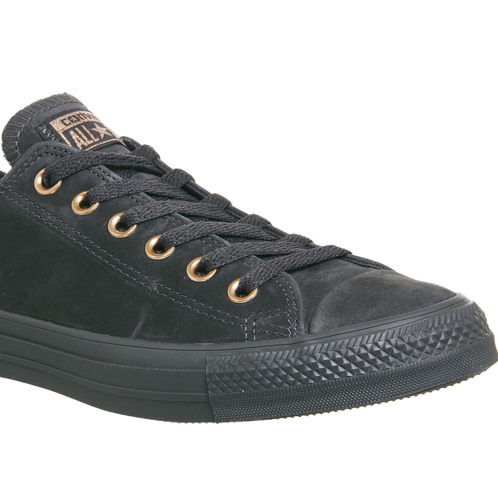 Converse black leather and rose gold