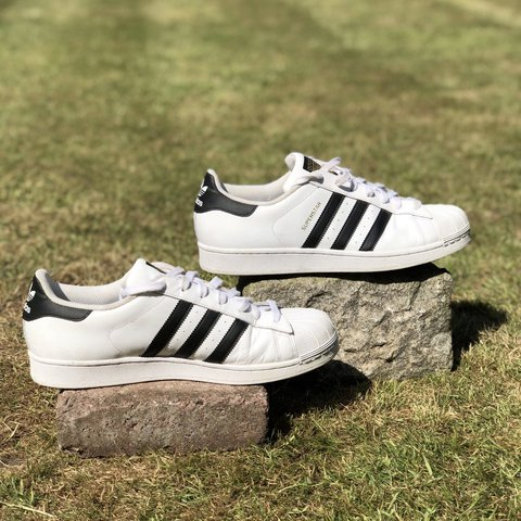 4e0db4c5a Adidas superstars Size 11 in white and black -Only worn a a - Depop