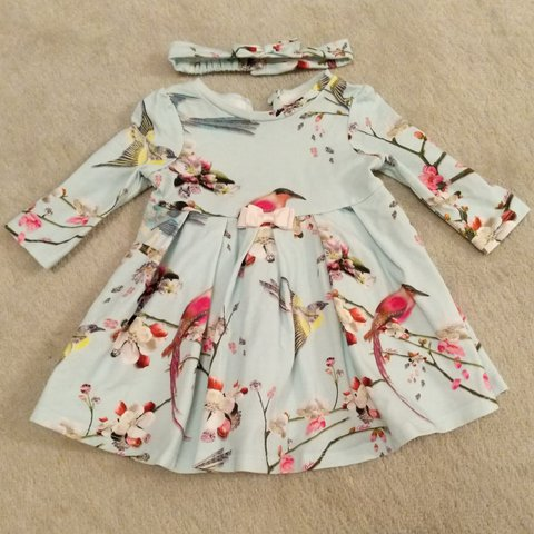 f023261d6319e Ted Baker baby girl dress in pale blue with bird and flower - Depop