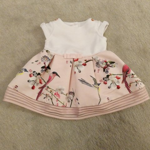 9a67f6b6e Ted Baker baby girl dress with white cotton tip and flared - Depop