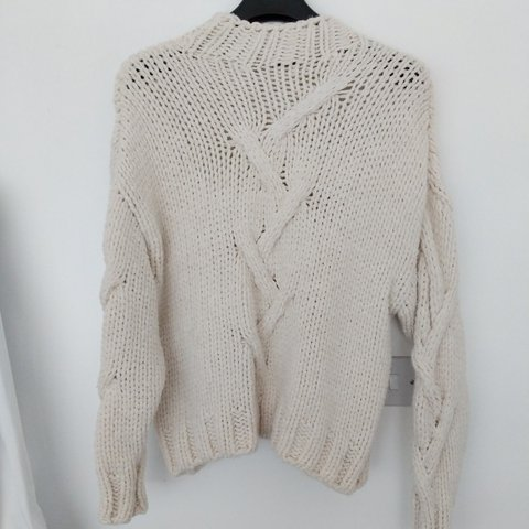 Zara cream chunky cable knit jumper size S oversized fit d86314935