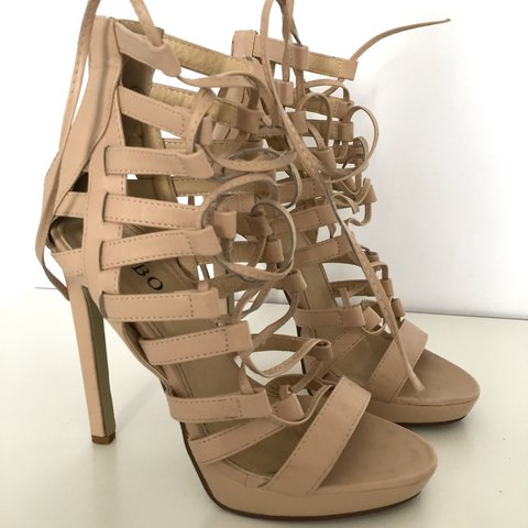 66f56c4cba5c Nude strappy gladiator sandal heels ✨ only worn once for a ✨ - Depop