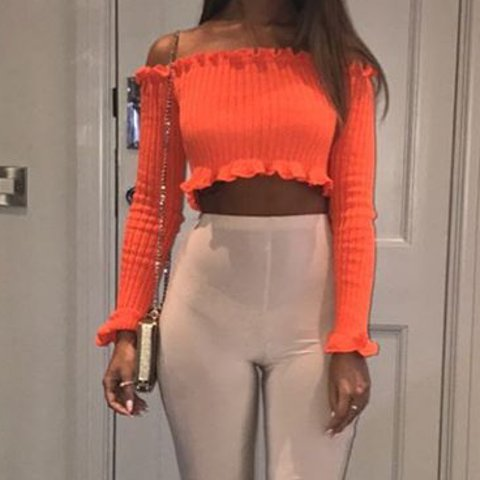 8a2fcf91e6c597 In the style size 8 orange knitted crop top. Worn once