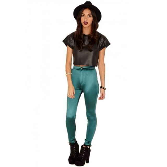 83f3a512d6910 Green disco pants miss guided size 10 - Depop